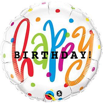 Qualatex 18 Inch Round Happy Birthday Dots Design Foil Balloon