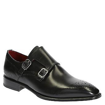 Black leather double monk strap shoes for men