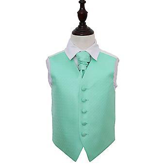 Mint Green Greek Key Wedding Waistcoat & Cravat Set for Boys