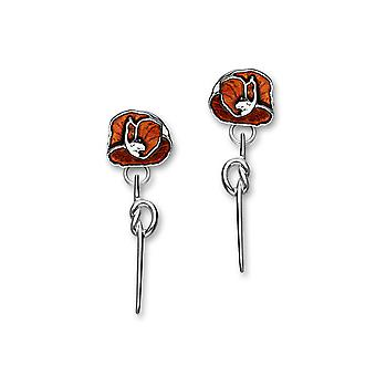 Sterling Silber traditionellen Gedenken Mohn Design Paar Ohrringe - EE554