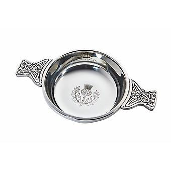 Celtic Thistle Large Pewter Quaich