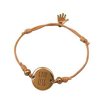 Damen - Armband - Gravur - CARE LESS - Rose Vergoldet - Hellkoralle - Rose