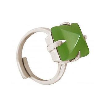 Damen - Ring - 925 Silber - Chalcedon - grün - 12 mm - Größenverstellbar