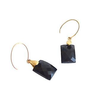 Schwarzer Onyx Ohrringe LENKA Onyx Ohrringe vergoldet