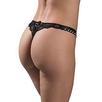 Aubade ME26 Women's Femme Sensuelle Black Embroidered Knicker Panty Tanga