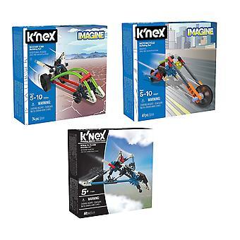KNEX - ajoneuvon lajitelma Stealth kone, raketti auto, moottoripyörä (yksi myy)
