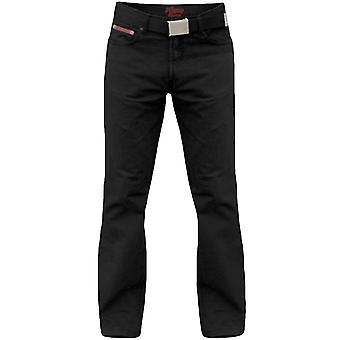Hertig London Mens Mario stora höga kung storlek Bedford sladd Jeans byxor med bälte