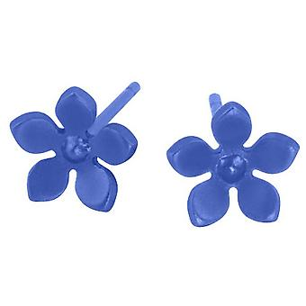 Ti2 Titanium 8mm Five Petal Stud Earrings - Navy