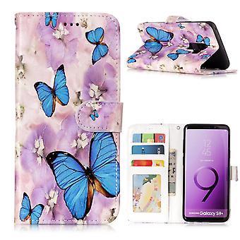 Samsung Galaxy S9 Plus Portafoglio Caso Blu Farfalla e Fiore