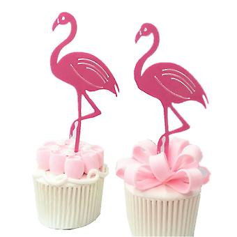 SOLID FLAMINGO CAKE FLAGS 2 SET PINK