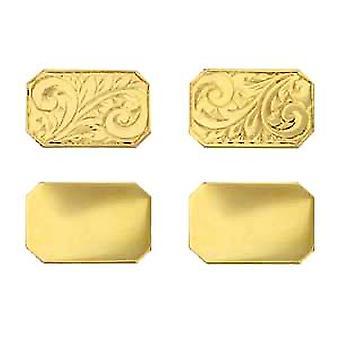 18ct Gold 18x12mm cut corner hand engraved chain Cufflinks