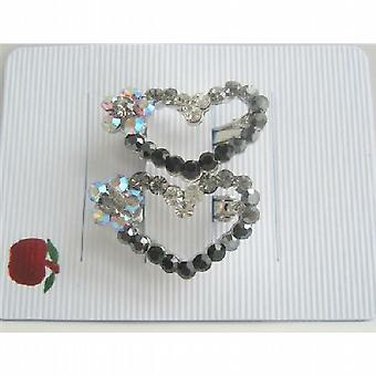 Flower Heart Austrian Crystals Hair Barrette Jet Crystals Heart Clip