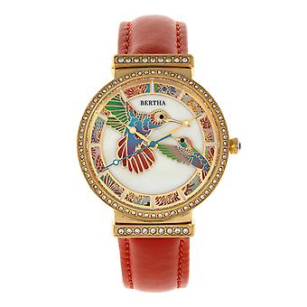 Bertha Emily Mother-Of-Pearl Leather-Band Watch - Gold/Orange