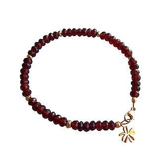 Gemshine - dames - bracelet - plaqué or - grenat - rouge foncé - rouge - facettes