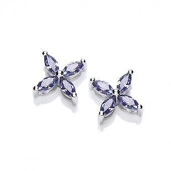 Cavendish francese Silver e Tanzanite CZ fiore orecchini