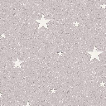 Glow In The Dark Stars Planets Cosmic Wallpaper Textured AS Creation Beige/Brown/Grey