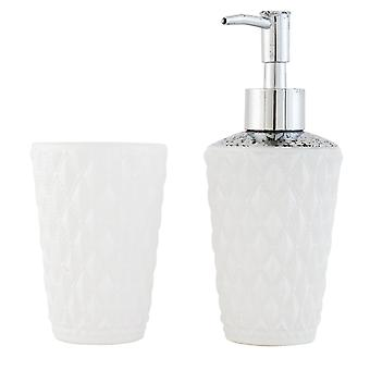 Clayre & EEF 62620 2er set bathroom soap dispenser toothbrush holders made of glass
