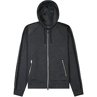 Emporio Armani Panelled Hoodie Grey