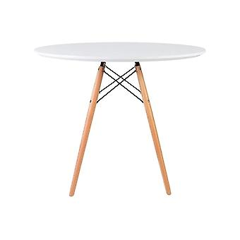 Fusion Living Eiffel Inspired Medium White Circular Dining Table With Beech Wood Legs