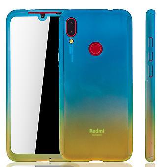 Xiaomi Redmi Note 7 Handy-Hülle Schutz-Case Full-Cover Panzer Schutz Glas Blau / Gelb