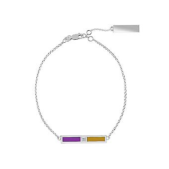 The Purple Heart Foundation Sterling Silver Diamond Bar Chain Bracelet In Purple and Gold