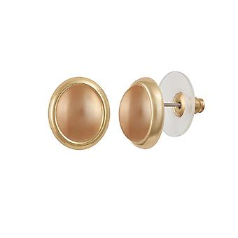 Eternal Collection Minuet Golden Shell Pearl Gold Tone Stud Pierced Earrings