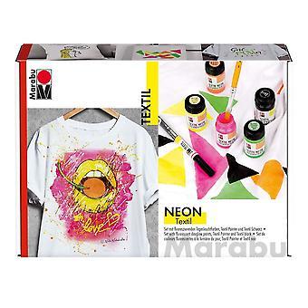 Marabu Textil Neon Fabric Printing Kit