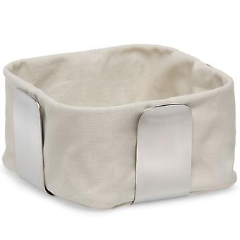 Bread basket stainless steel matt, cotton inlay sand