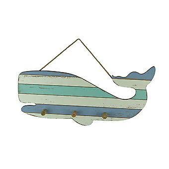 Coastal Blue and White Striped Wood Whale Wall Hook Rack
