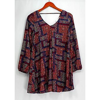 Soprano Top Printed Long Sleeve V Neck Tunic Blue