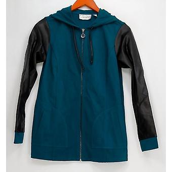 Linea por Louis Dell ' Olio mulheres ' s camisola com capuz Zip frente verde A267865