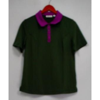 Denim & Co. Aktive Polo Shirt w / Kontrast Trim grau A268240
