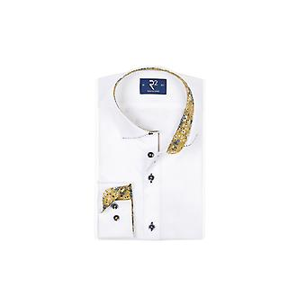 R2 Long Sleeved Wide Spread Collar Shirt White