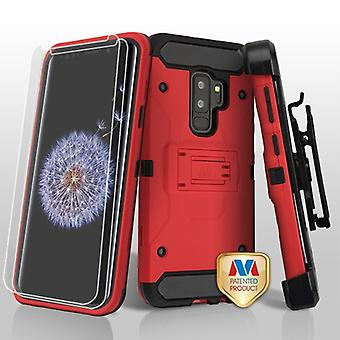 MYBAT Red/Black 3-in-1 Kinetic Hybrid CaseCombo w/ Holster (Twin Screen Protectors) for Galaxy S9 Plus