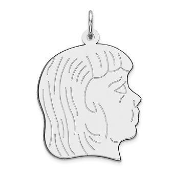 925 sterling zilver gepolijst plat terug Engravable Engraveable meisje disc charme-3,4 gram