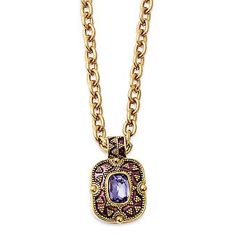 Gold tone Purple Crystal and Enamel 18inch Necklace Jewelry Gifts for Women