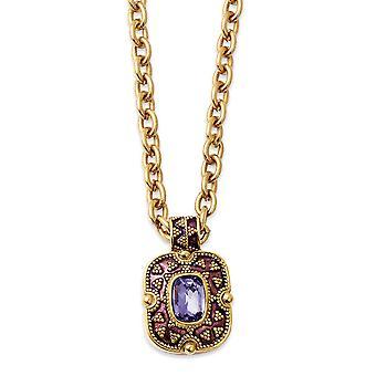 Gold-Ton lila Kristall und Emaille 18inch Halskette Schmuck Geschenke für Frauen
