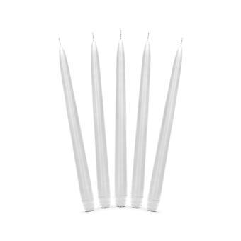10 Matt White Unscented Tapered 29cm Dinner Candles