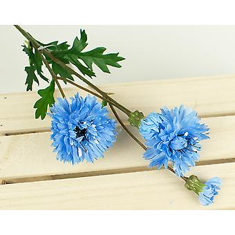 Artificial Fabric Light Blue Silk Cornflower Spray for Floristry Crafts