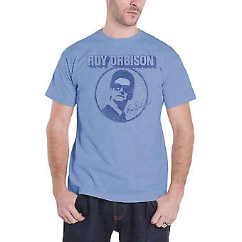 Roy Orbison T Shirt Photo Circle Logo Vintage retro new Official Mens Blue