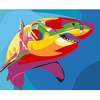 Wizardi Rainbow Shark Stretched Canvas Extra Large Paint By Numbers
