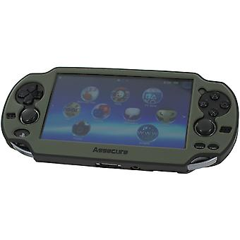 Soft silicone skin protector cover bumper grip case for sony ps vita 1000 &ndash grey & black
