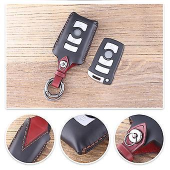Genuine leather car key case BMW black