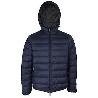 Emporio armani men's blue & black reversible down jacket