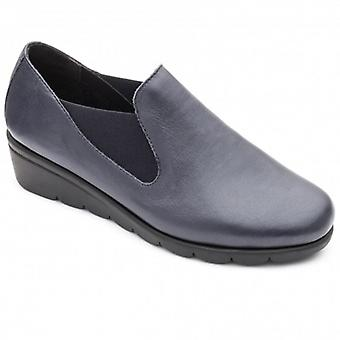 Padders Dawn Ladies Pelle Ampia (e Fit) Scarpe Navy