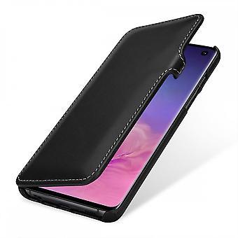 Etui Pour Samsung Galaxy S10 Book Type Noir Nappa En Cuir Véritable