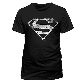 Superman Adults Unisex Adults Logo Mono Distressed Premium T-Shirt