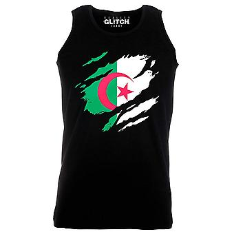Reality glitch torn algeria flag mens vest