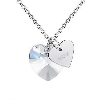 Vincenza mor hjerte halskæde sølv med jeg elsker dig til månen og tilbage beskedkort