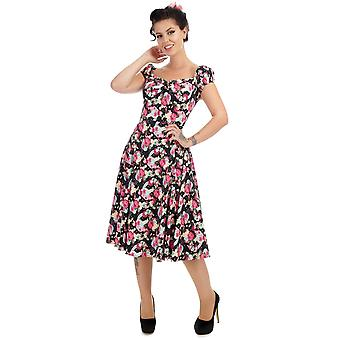 Collectif Vintage Women's Dolores Doll Origami Floral Peony Print Dress